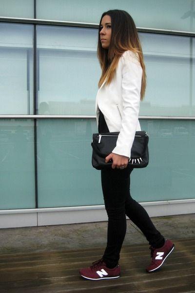 NEW BALANCE 410 burgundy with white blazer + black leggings + black clutch