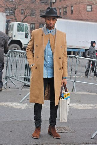 Men's Camel Overcoat, Light Blue Denim Shirt, Black Jeans, Brown Suede Chelsea Boots