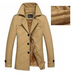 #Banggood Зимние мужские средней длины хлопка куртки плюс толстый бархат сплошной цвет однобортный пальто (1099290) #SuperDeals