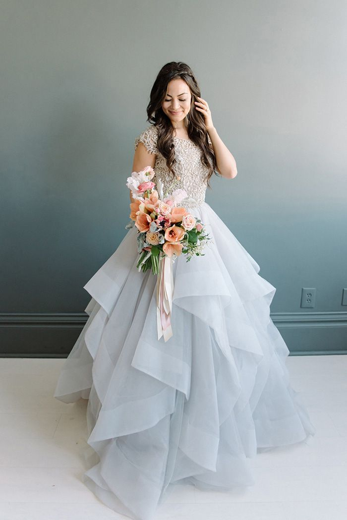 Pastel Layered Wedding Dress with a Crystal Bodice