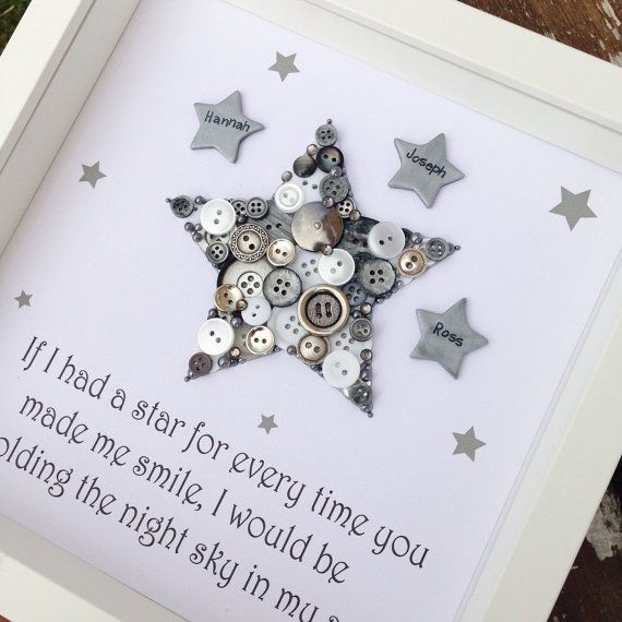 Star Button Art New Baby Gift Christening by CraftyLittleMonkey14                                                                                                                                                                                 More