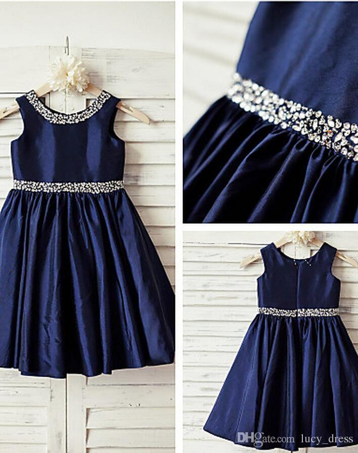 2017 Navy Blue Sequin Taffeta Flower Girl Dress Curly Hem