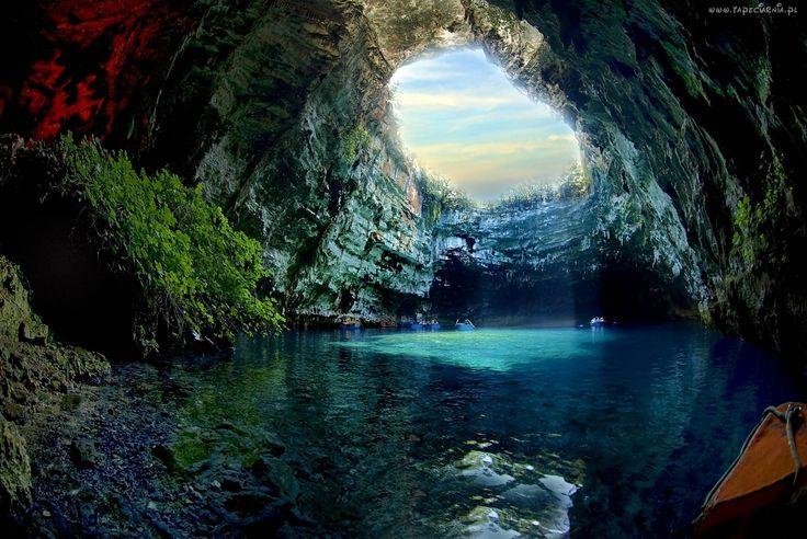 Jaskinia, Jezioro, Skały, Łódki, Przebijające, Światło, Roślinność