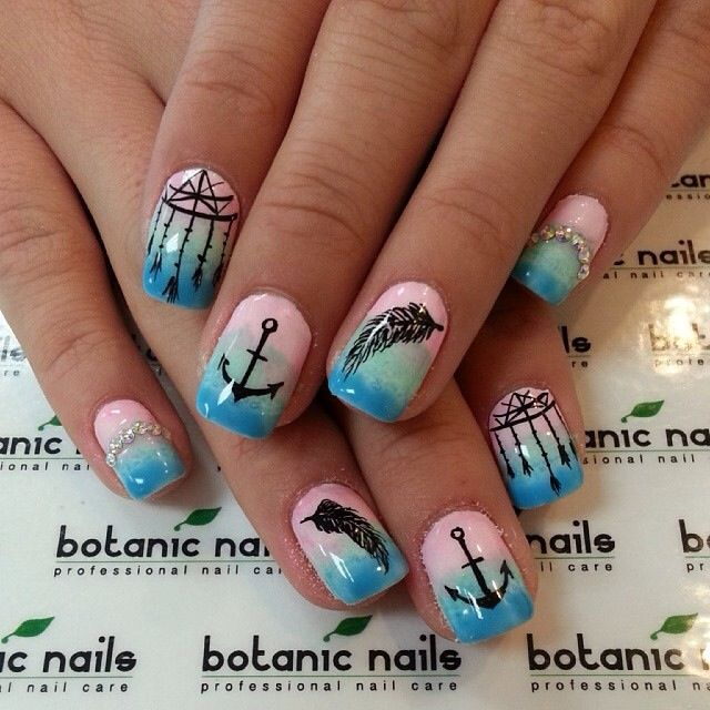 Anchor and dream catcher nails