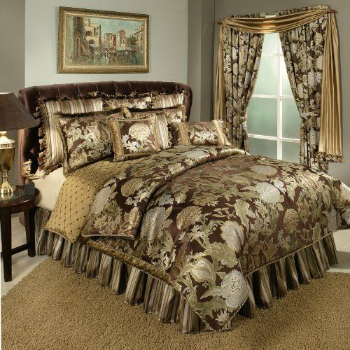 Austin Horn Classics Wonderland Bedding Collection, 4-Piece, King by Austin Horn Classics. $518.24. 67-percent polyester and 33-percent viscose. King dimension: comforter 108 by 96  bedskirt 78 by 80 + 18-inchch drop  2 king shams 20 by 36. Dry clean recommended. Wonderland is a yarn dyed jacquard with soft blues off set by rich chocolates, trimmed with dyed to match cording and tassels. The bed skirt has and 18 inches drop and the comforters are all oversized. • Upd...