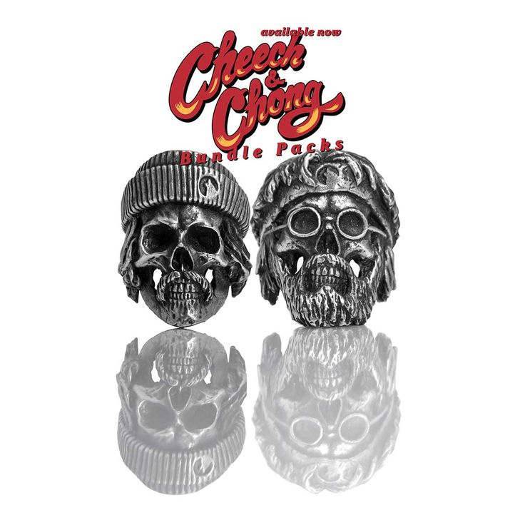 Cheech and Chong (Bundle) pewter skull ring www.eastern-wolves.com