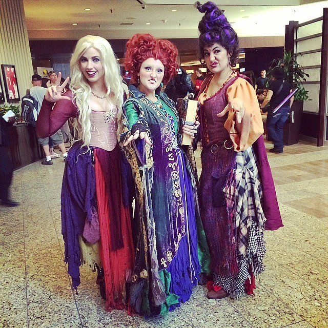 Hocus Pocus Witches: Choose your favorite witch and channel her with a corset, heavy makeup, and funny Halloween puns.