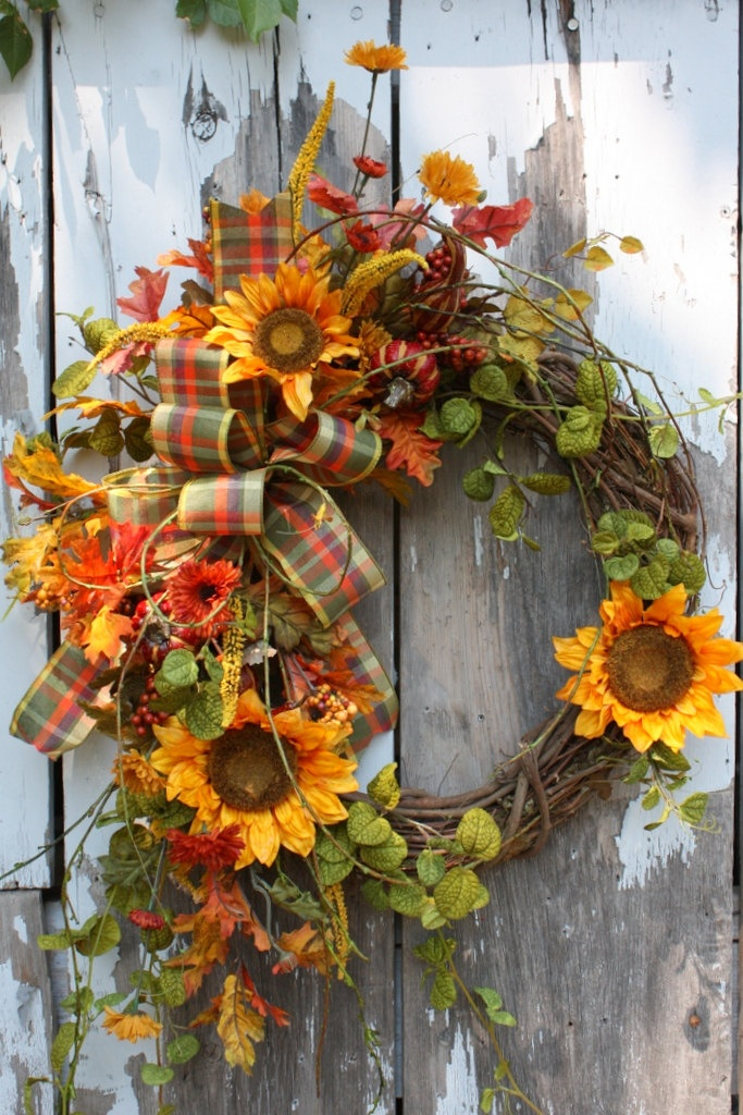 Fall Wreath, Sunflowers, Pumpkins, Berries, Plaid Bow via Etsy.