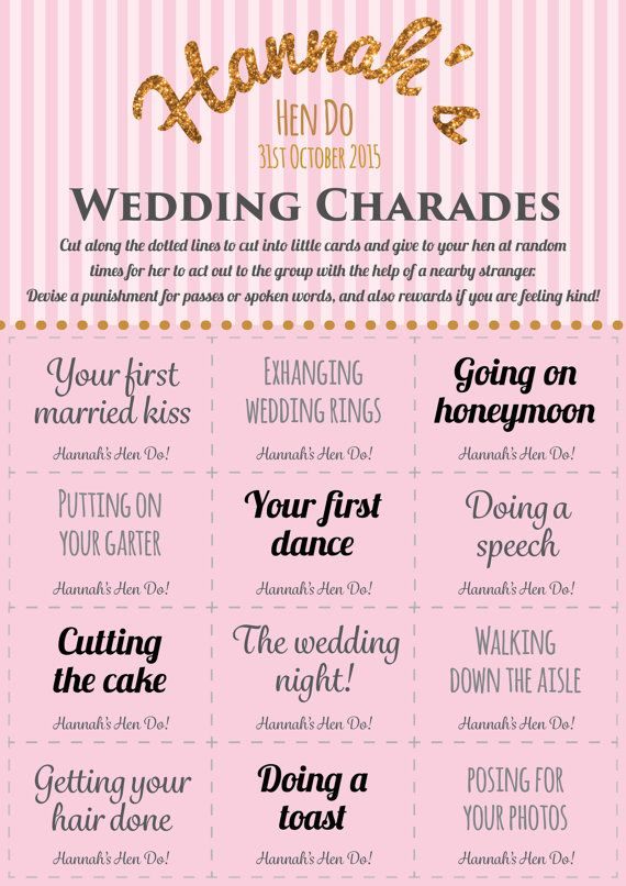 Personalised hen party game  Wedding charades  Printable hen