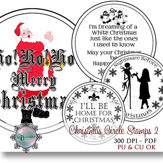 Christmas  Circle Sentiment Stamps Vol 2   2 by Beauladigitals