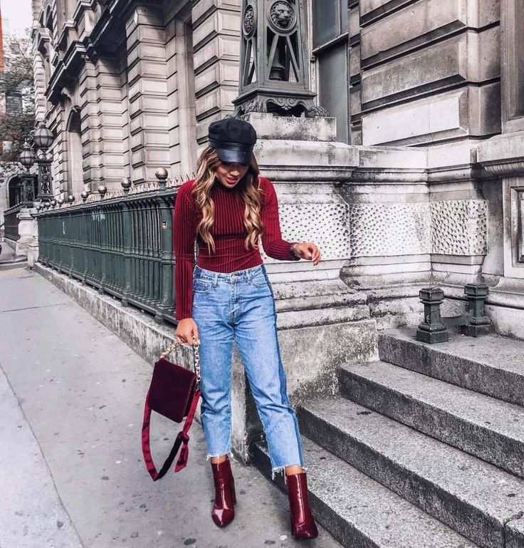 • Burgundy Patent Ankle Boots •