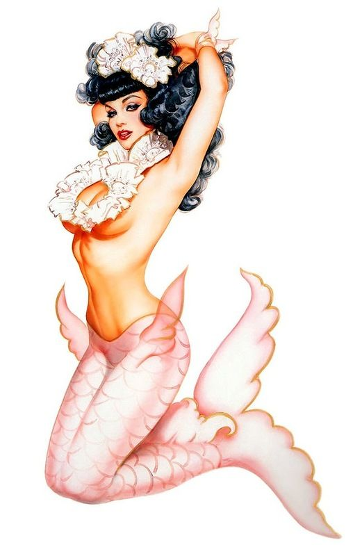 Pin-up Mermaid I like her pose but I want she'll covered boobs and a different color tail!