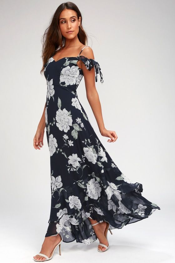 f297ef4c698 An event-ready ensemble is easy to achieve with the A-Bouquet Navy Blue  Floral Print Off-the-Shoulder Maxi Dress! Dreamy chiffon