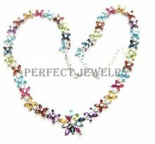 Collar de la gema del Envío libre S925 Collar de plata de ley gemas de Color son de zafiro, rubí, amatista, citrino, peridoto, granate, topacio azul(China)