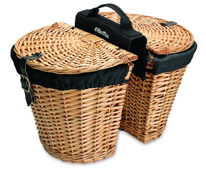Electra 368792 REAR RACK WICKER BASKETS w/LINERS (Natural) $119.99 Secures to side of rear rack (sold separately) with top clips and lower hook. Easily removes when needed. Baskets joined at center with canvas handle for easy carrying. Our rear mount wicker saddle baskets are a perfect touch for any retro ride. Both baskets are lined with black rip stop fabric and secure with toggles and buckled straps. Fits: Most rear racks (not included)