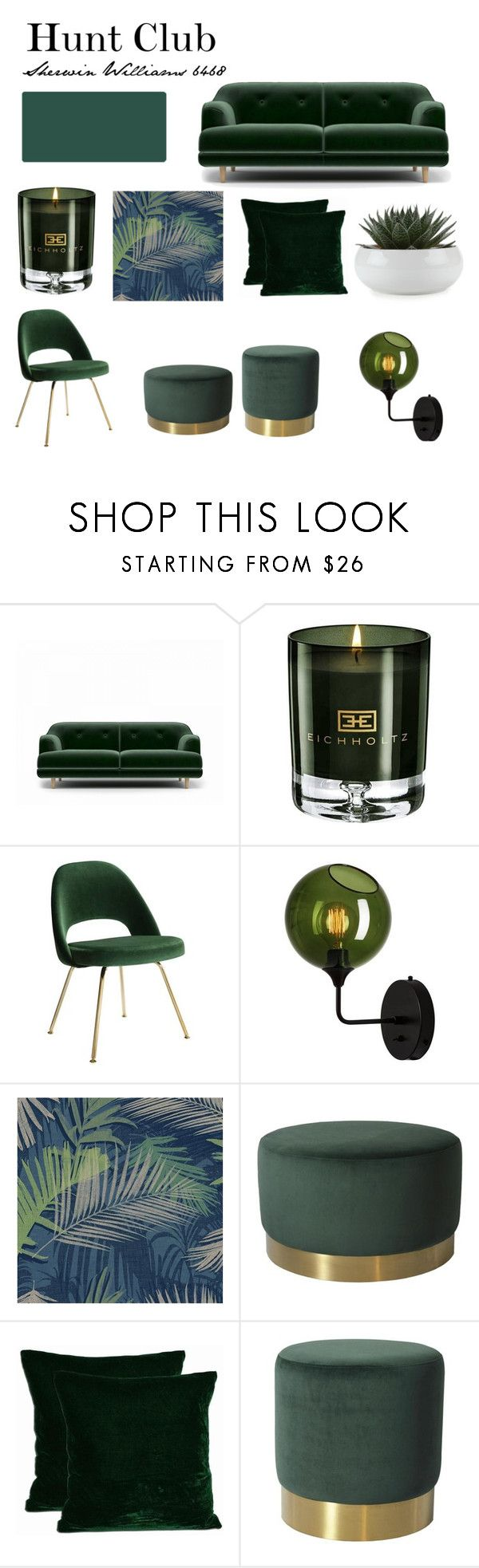 """""""Hunt Club Green"""" by seeseainteriors on Polyvore featuring interior, interiors, interior design, home, home decor, interior decorating, Eichholtz, Knoll and Boutique"""