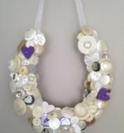 These are handmade lucky button horseshoes made from many many buttons, all sewn on by hand, and of course, a bit of love thrown in for good measure.  We love recycling and using vintage materials were we can, it makes everyone unique.  Colours and style can be adapted to suit themes