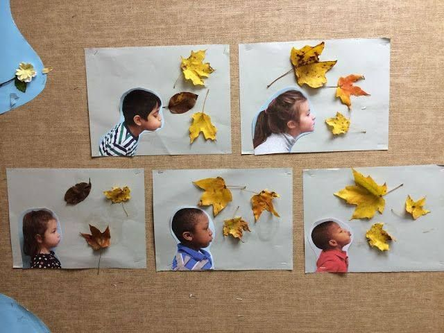 Nice idea! Would take a photo with a white background instead of cutting the child out and glue some leaves on the photo.