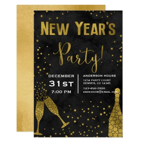 1226 best 2018 new years party images on pinterest christmas 2018 new years eve party champagne glasses card invitations personalize custom special event invitation idea style party card cards stopboris Images