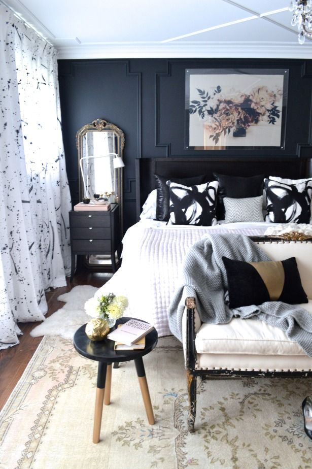 Christine Dovey styled master bedroom, fresh and crisp bedroom idea, the rug helps the strong colour scheme more feminine