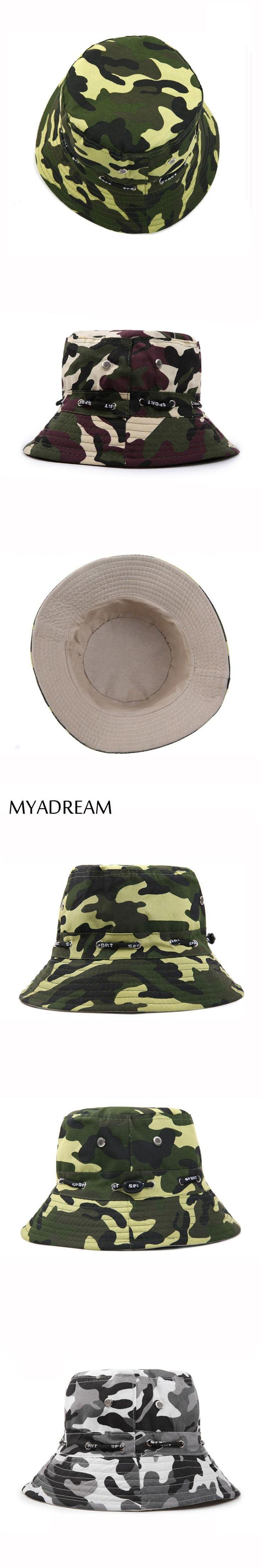 MYADREAM Camoufalge Bucket Hat Chapeu Feminino Bucket Hats for Men Women Flat Top Adjustable Hunting Fishing Hat Boina Cap