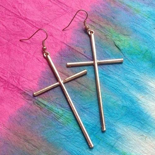 Skinny Cross Earrings