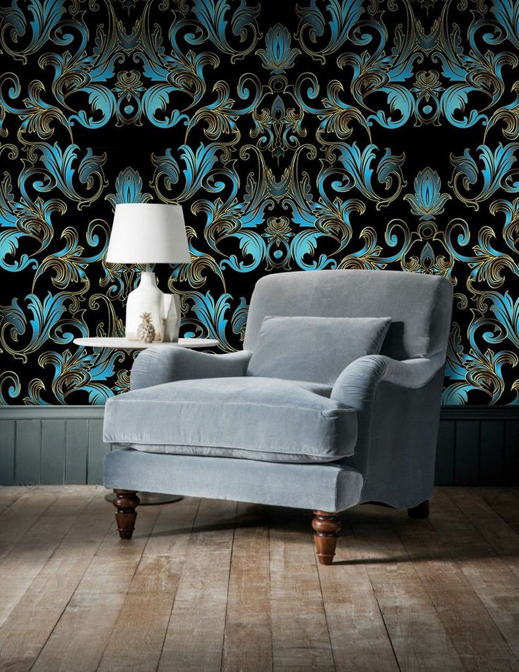 Baroque Damask Floral Removable Wallpaper Blue And Golden And Etsy Removable Wallpaper How To Install Wallpaper Black Walls