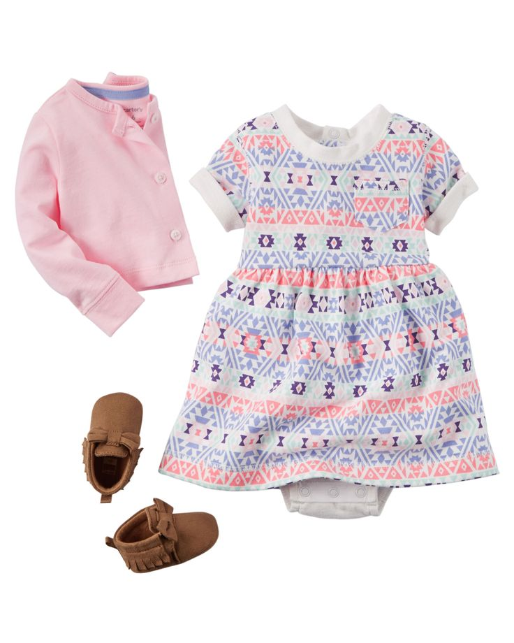 Designed with a sweet print and cardi to match, this soft cotton set keeps her cute for any occasion!  Shop all sets now!