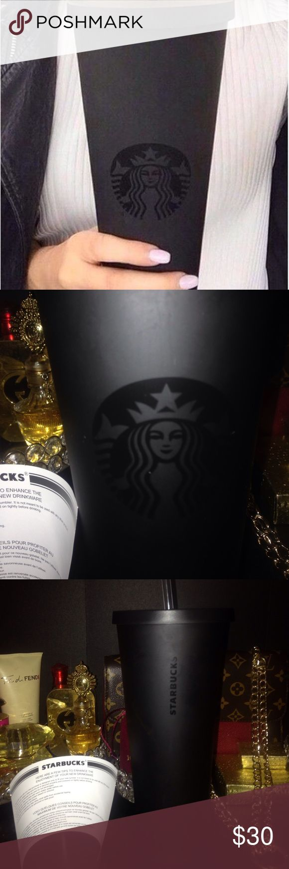 Black matte venti Starbucks cup😍❤️ Cup is brand new but it does have a couple of little scratches nothing  major was purshaced    That way it's the material they mad cup with  has Starbucks papers in plastic on straw no box price is firm or very close offer to listing price  SUPER RARE HARD TO FIND CUP IN HIGH DEMAND 😍😍😍 starbucks Accessories