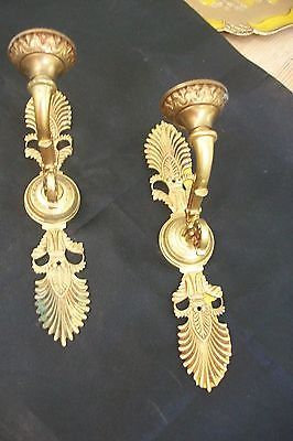 French gilt Bronze Brass Wall Candle Holders sconces #12