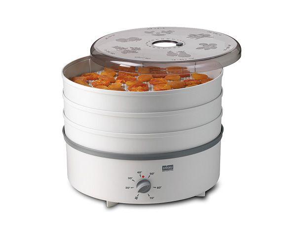 déshydrateur Stöckli Dörrex avec Plateaux plastiques sans Minuteur, Ce déshydrateur est le modèle de base de la famille Dörrex de Stöckli. C'est un déshydrateur simple mais dont la ventilation est efficace avec sa puissance de 600W. Il possède un thermostat pour adapter la température de séchage.