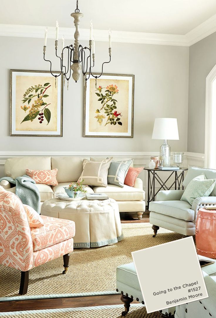 Living room with coral and blue color palette (going to the chapel Benjamin Moore)
