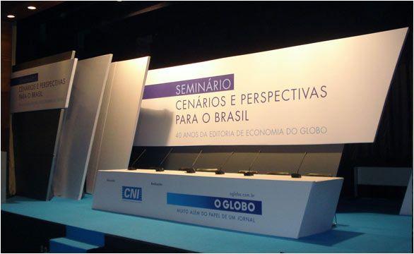 Seminário Cenários e Perspectivas para o Brasil  Cliente: O Globo  Cenografia: ZADA Criação Sustentável