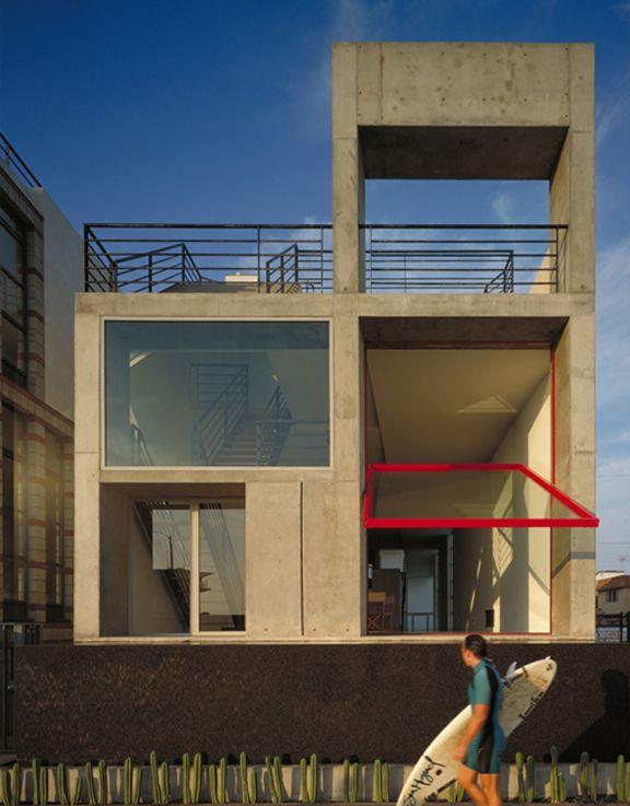 venice house, venice, ca • antoine predock architect: Red Doors, Venice Beaches, Back Doors, Glasses Wall, Concrete Houses, Beaches Houses, Venice Houses, Antoin Predock, Pivot Doors