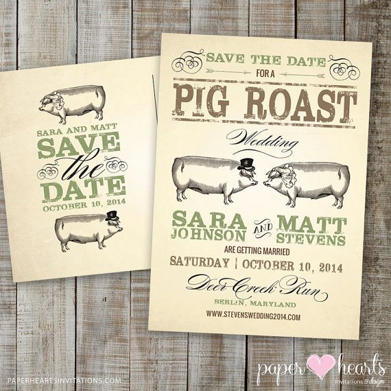 Pig Roast Wedding Save the Date Postcard by PaperHeartsInvites