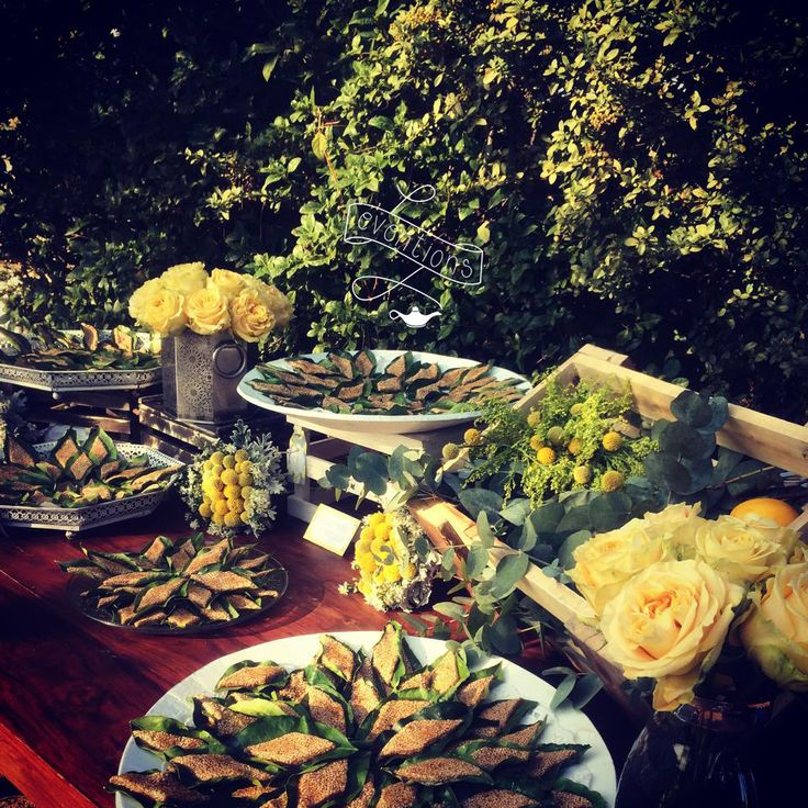 Traditional wedding sweets from Tinos island, served on lemon leaves, for a wedding in Athens!