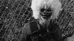 scary gif Black and White creepy horror bang clown