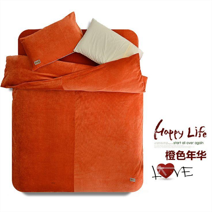Orange Duvet Cover Set Corduroy Bedding