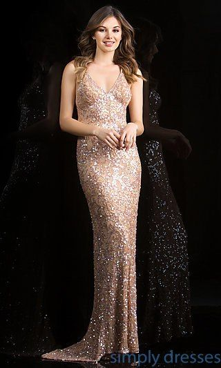 70b13660f6f Shop Simply Dresses for sequin gowns with open back by Scala 47542. Sexy  V-neck sequin gowns and open back dresses for prom or formal in black.