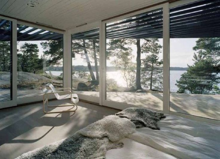 What a view from this bedroom on an island near Stockholm