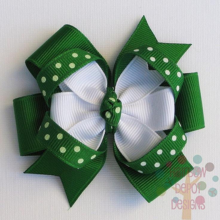 St Patricks Day Green and White Polka Dotted Medium Pinwheel Loopy Stacked Hairbow Hair Bow. $4.50, via Etsy.