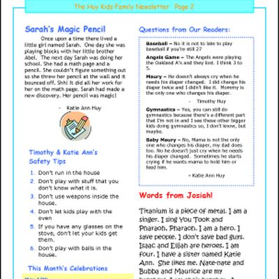 Create a Family Newsletter: Sample Family Newsletter, page 2