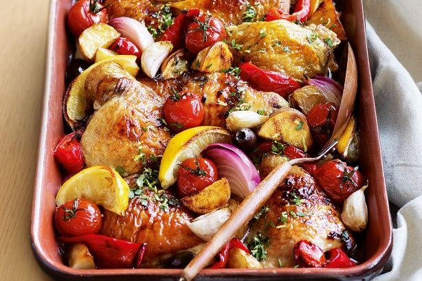 Greek lemon chicken. Looks like a healthy option! Mediterranean food seems pretty healthy does it not?