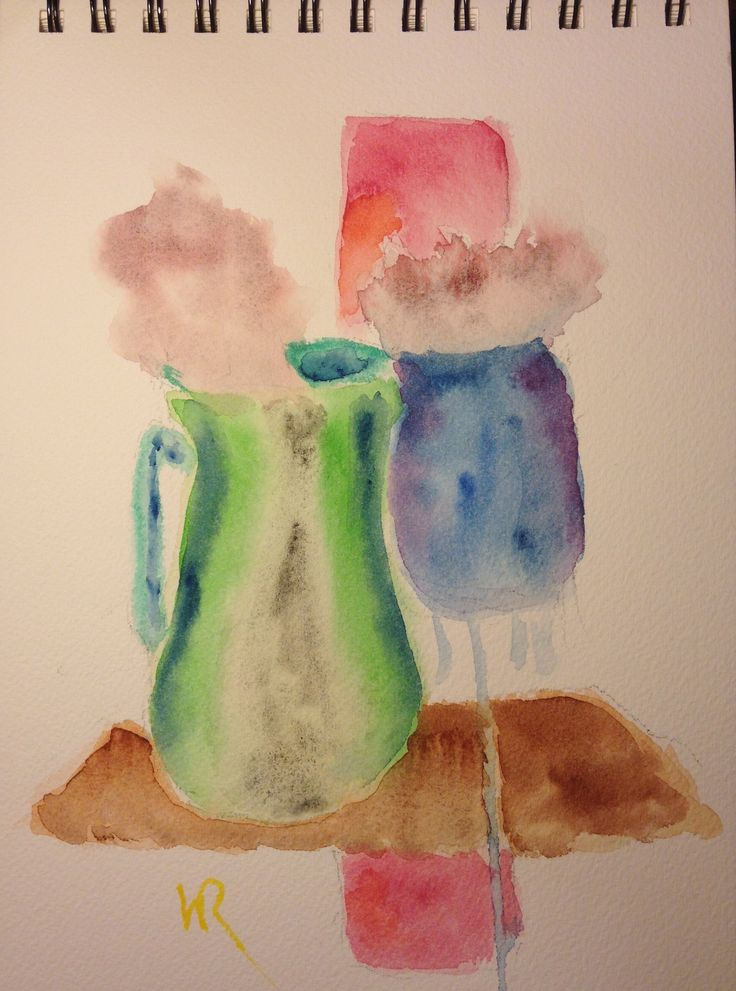 """This is """"First Cup,"""" a watercolor sketch, expressionist, on 7""""x10"""" Arches field book cold press paper - (c) 2016 Wes Rehberg"""