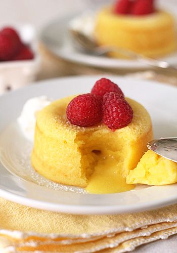 The Galley Gourmet: Meyer Lemon Molten Cakes with Raspberries and Cream