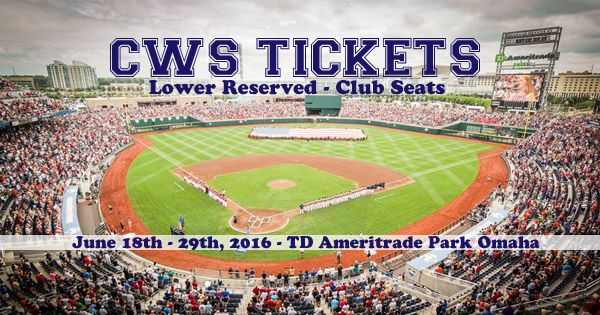 BUY & SELL YOUR 2016 CWS LOWER RESERVED & CLUB TICKETS TODAY! Order your All Session & Individual Game Tickets to the 2016 COLLEGE WORLD SERIES in Omaha from TicketExpress.com. For the past 23 years, Ticket Express has been helping our clients make CWS memories. We look forward to helping you secure your 2016 COLLEGE WORLD SERIES today!  Have extra tickets? Fill out an online form and we will get back to you with a quote on your tickets: https://www.ticketexpress.com/Sell-Tickets