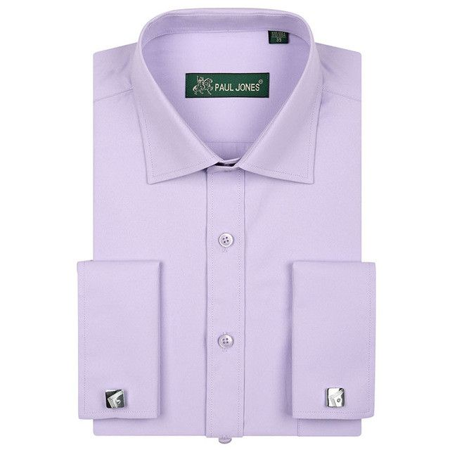 Fashion New French Cuff Dress Shirts Long Sleeve Mens Business Formal Shirt with Cufflinks Camisa Hombre chemise homme masculina