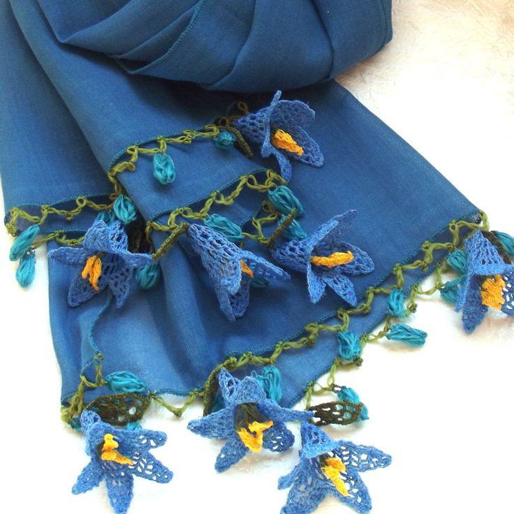 Turkish OYA Lace - Flower stole - Blue by DaisyCappadocia on Etsy