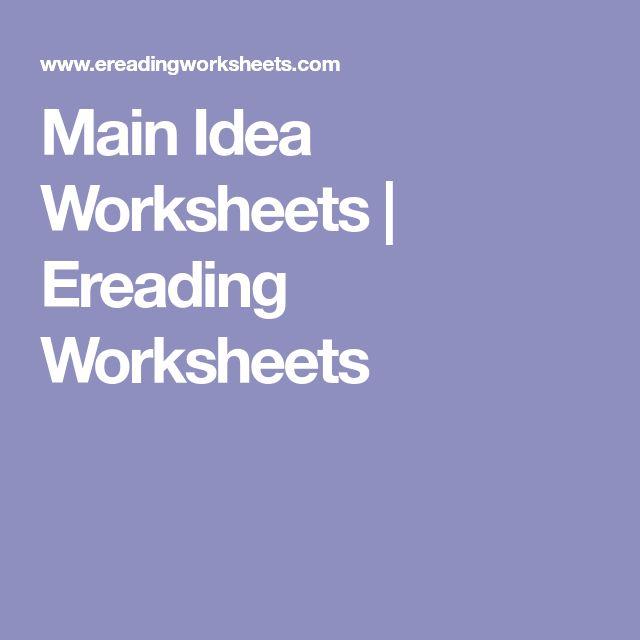 Ereading worksheets main idea