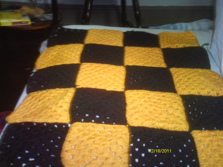 I crocheted this for a Pittsburgh Steelers fan